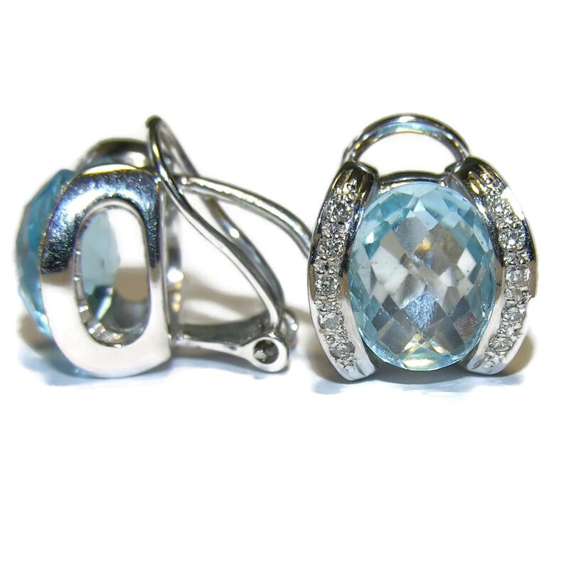 Pendientes de 0.18cts de diamantes y topacio azul en oro blanco de 18ktes. Never say never