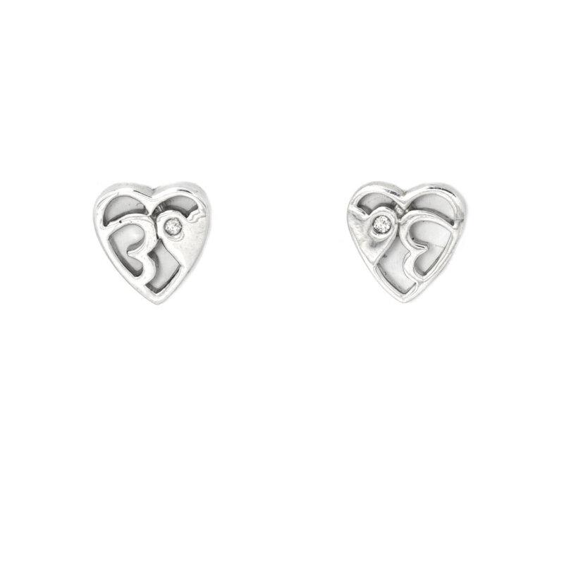 Pendientes Corazón Calados Plata y Brillante DE129902850 Hot Diamonds