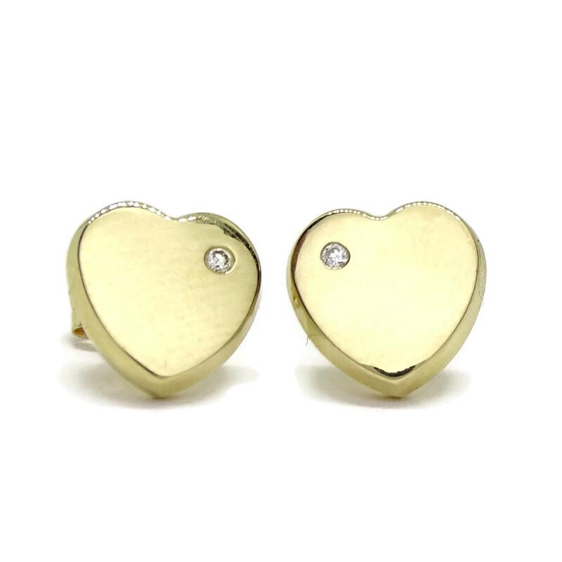 Pendientes corazón con 0.04cts de diamantes y de oro amarillo de 18Ktes. Presión Never say never