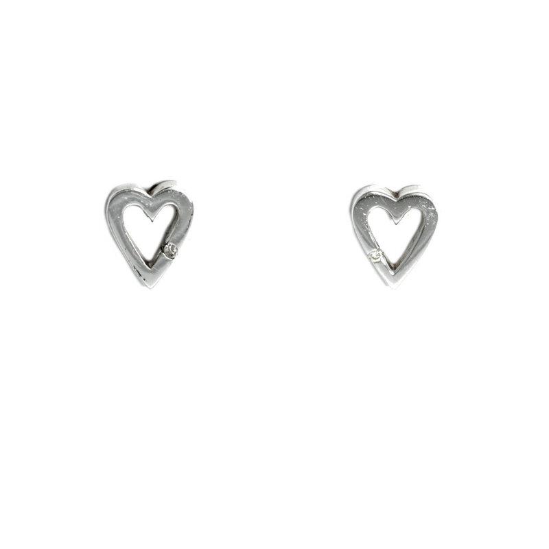 Pendientes Corazón Plata y Brillante 585DE008  Hot Diamonds