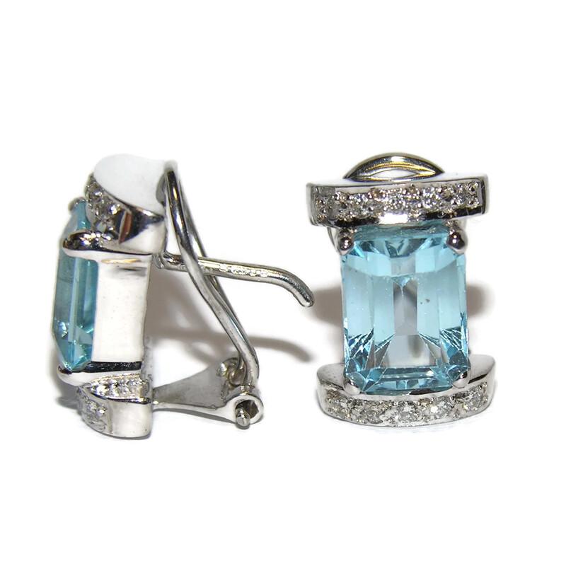 Pendientes de 0.20Cts de diamantes y topacio azul en oro blanco de 18Ktes Never say never