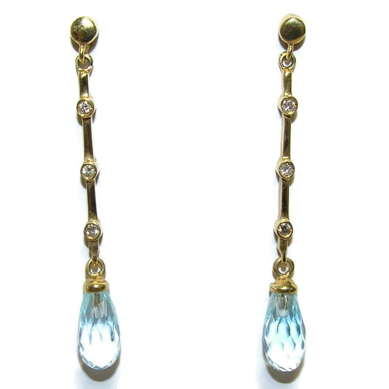 Pendientes de 0.12Cts de diamantes y topacio azul con oro amarillo de 18Ktes Never say never