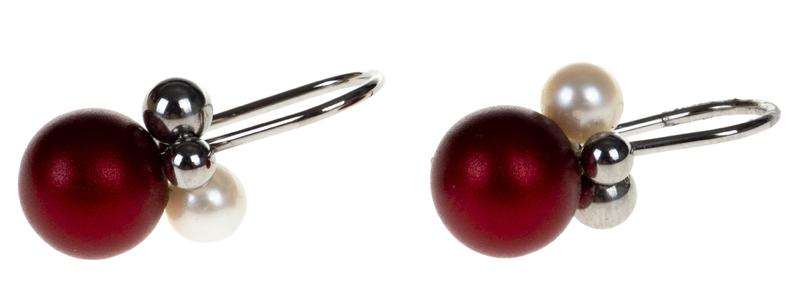 Pendientes acero y alumino Apero rojos con perla 3.141