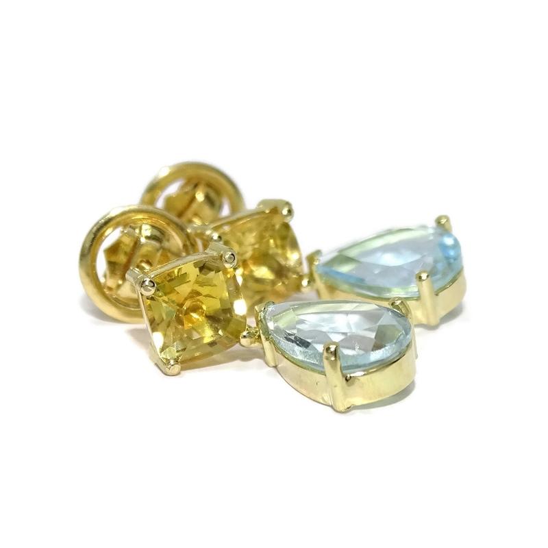 Pendientes de oro amarillo de 18k exclusivos con piedras naturales de color, 2 citrinos y 2 topacios Never say never