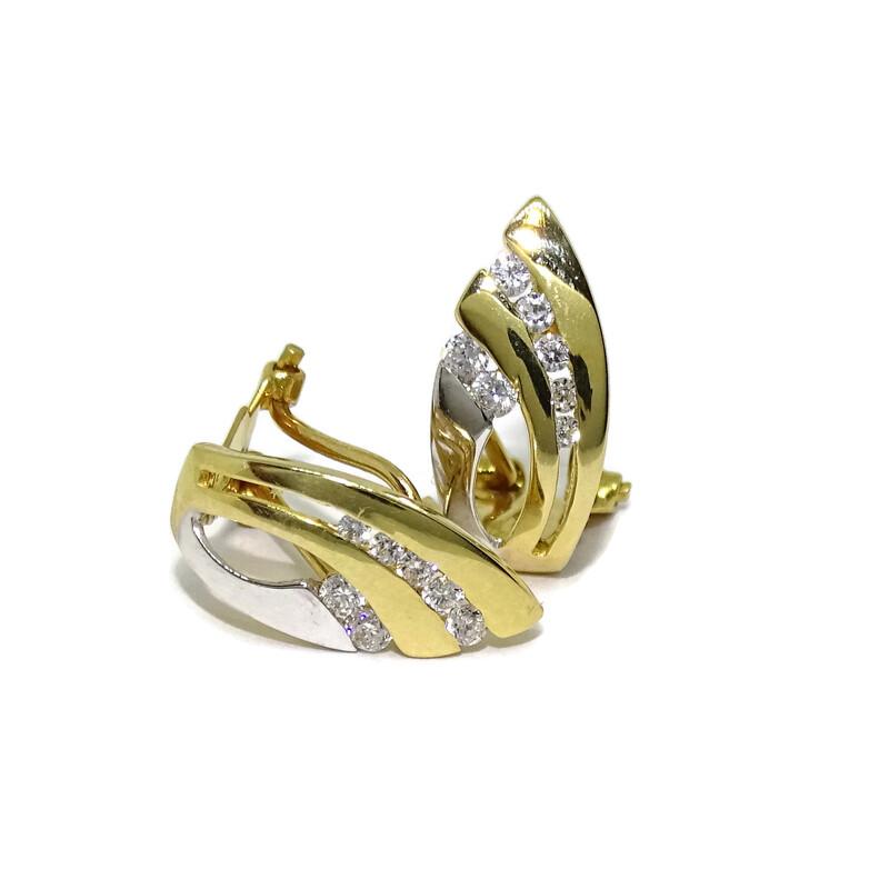 Pendientes de oro amarillo y oro blanco brillo de 18Ktes con 14 circonitas. omega Never say never