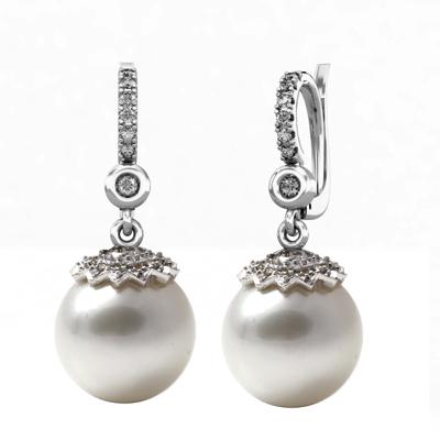 Pendientes  Oro Blanco 18 kt con diamantes 0,28 ct, y perlas australianas de 12-12,5 mm. Cresber