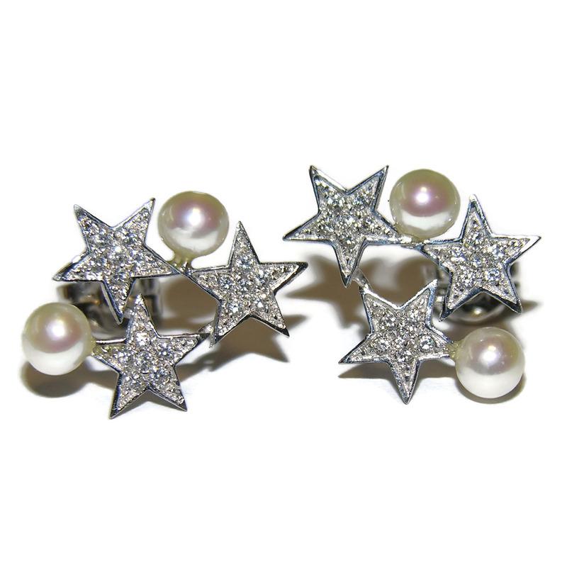 Pendientes de oro blanco de 18Ktes, perla cultivada de 4mm y circonitas Never say never