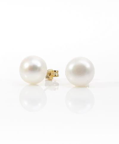 Pendientes de Oro de 18 Kt con Perlas de botón de 8 mm de diámetro Cresber