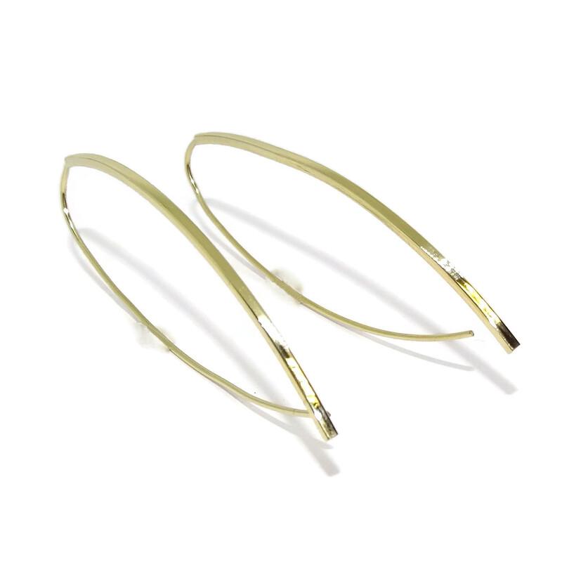 3d2b0a8ea5b4 Pendientes ganchos de oro amarillo de 18k grandes para mujer 5.80cm de  largos Never say. Cargando zoom