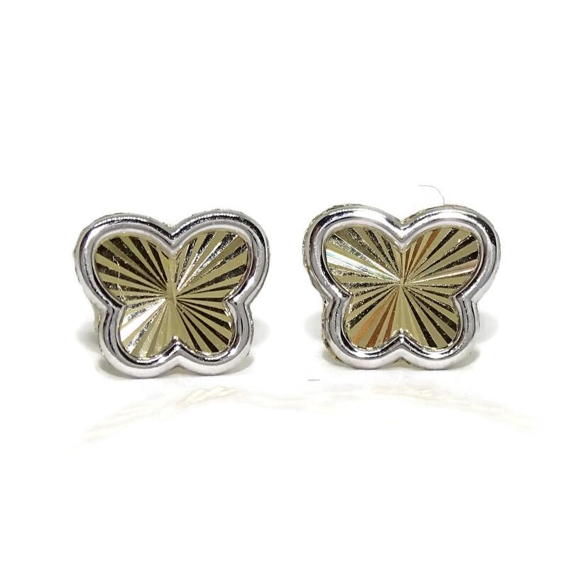 a32f9d86178c Pendientes mariposa de oro amarillo y oro blanco de 18k para niña y chica  joven.