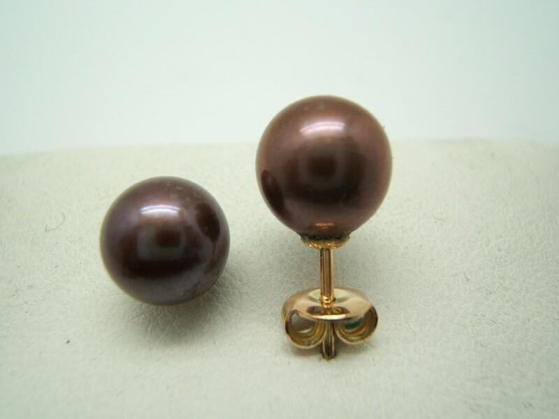 Pendientes perla cultivada marrón