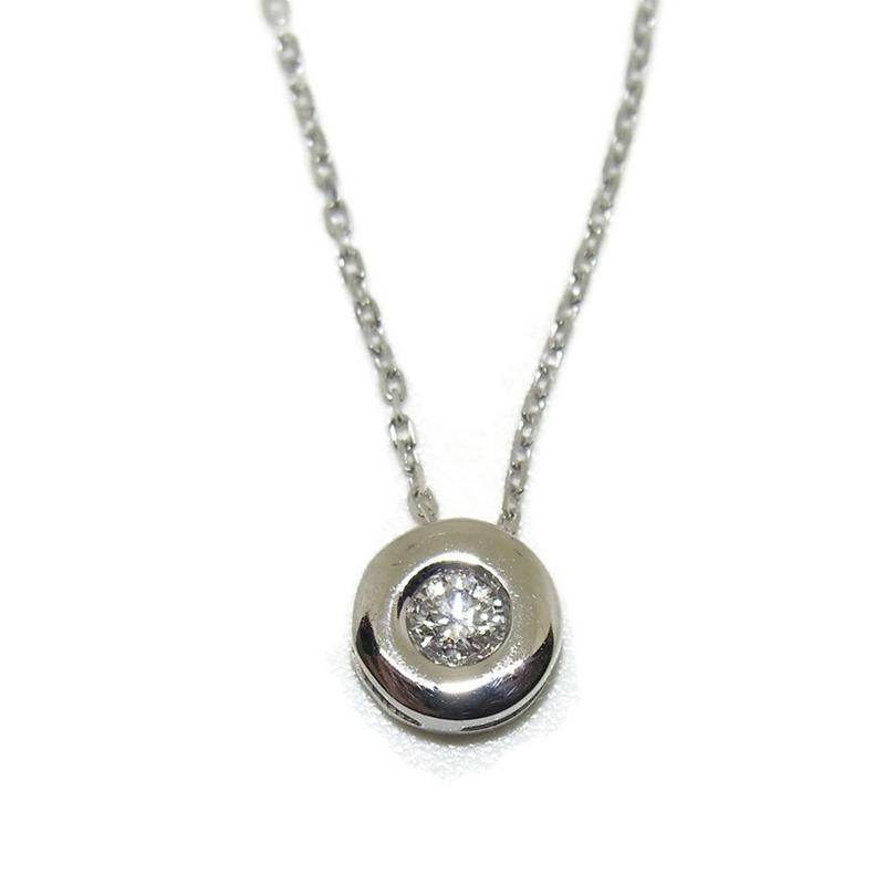 Espectacular collar con un diamante de 0.20cts en oro blanco de 18ktes.40cm Never say never