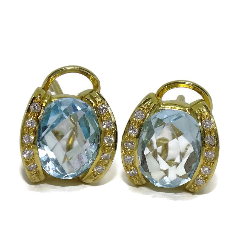 9f7bbd1d3a86 Pendientes de 0.18cts de diamantes y topacio azul en oro amarillo de  18ktes. Never. Cargando zoom