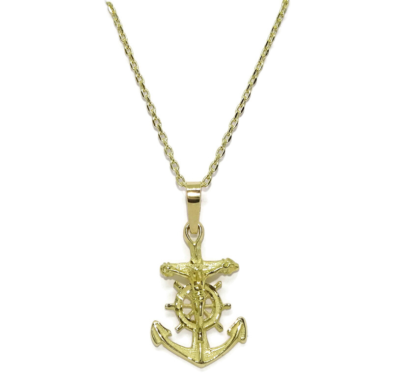 Preciosa cruz marinera de oro amarillo de 18kts de 2.40cm de alto sin el asa por 1.50cm de ancho Never say never