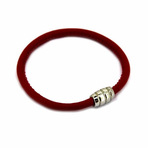 Pulsera Cuero Roja y Plata 19cm 60P99-19 Stradda