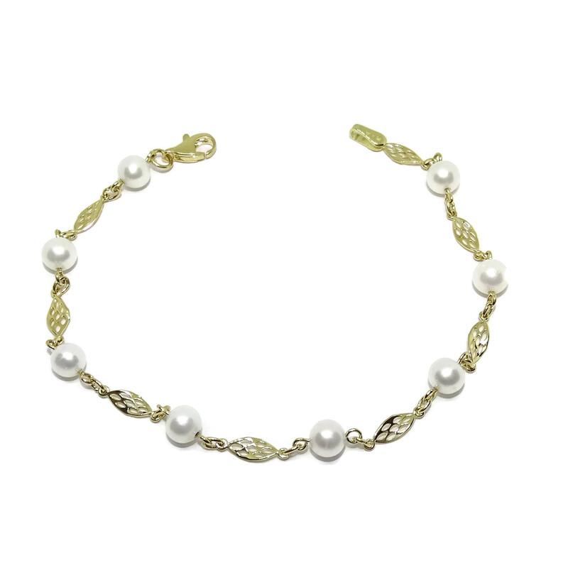 Pulsera de oro amarillo de 18k especial comunión con eslabón filigrana y 8 perlas cultivadas de 5mm. Never say never