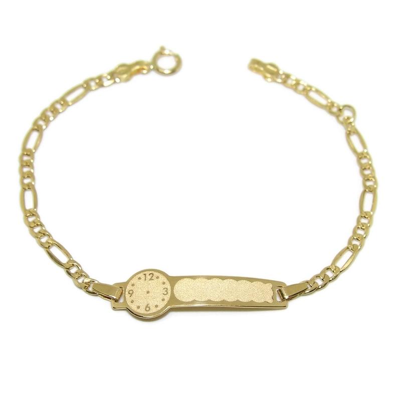 Pulsera para bebé de oro amarillo de 18Ktes con placa y reloj para grabar. 14cm Never say never