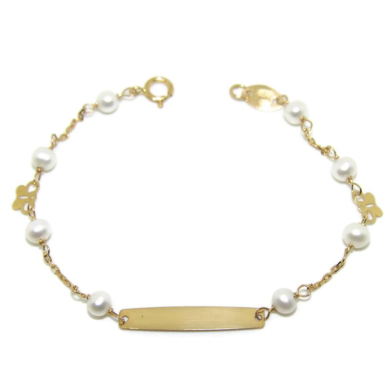 Pulsera para bebé de oro amarillo de 18Ktes y perlas cultivadas Never say never