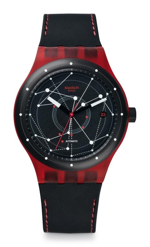 Reloj automatico rojo y negro sutr400 Swatch