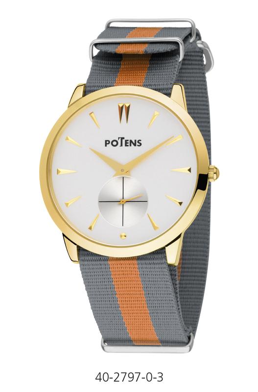 Reloj caballero caja chapada en oro correa de nylon  40-2797-0-3 Potens