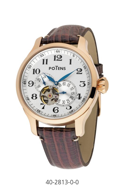 Reloj caballero mecánico automático caja acero chapada oro rosa correa piel  40-2813-0-0 Potens