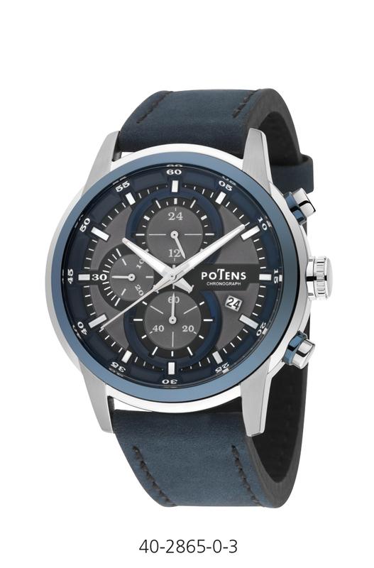 Reloj caballero potens crono caja acero correa piel  40-2865-0-3