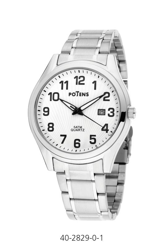 Reloj caballero Potens Roma caja y pulsera de acero  40-2829-0-1