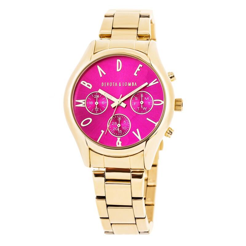 Reloj dorado mujer, esfera fucsia 8435432511664 Devota & Lomba