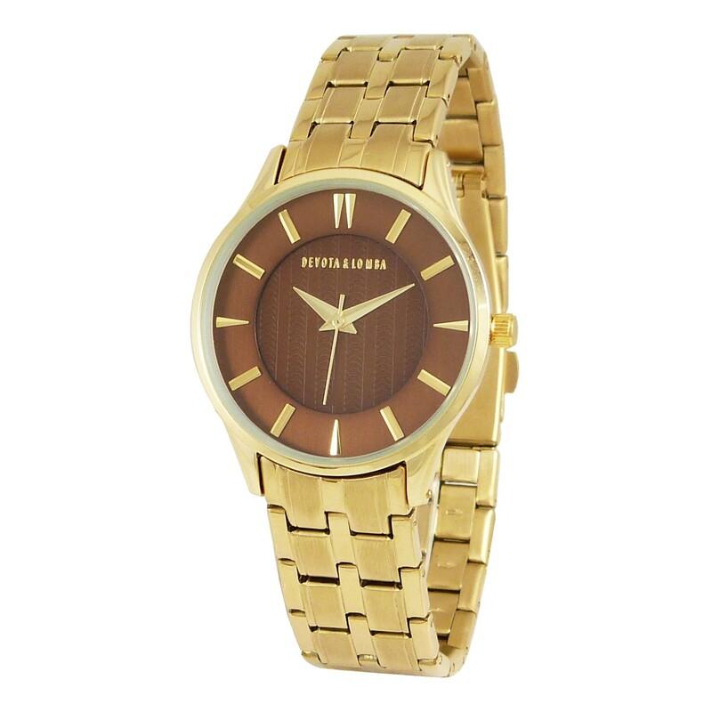 Reloj dorado mujer, esfera marrón 8435334800057 Devota & Lomba