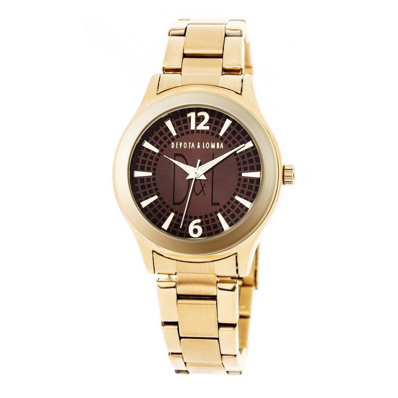 Reloj dorado mujer, esfera marrón 8435432511503 Devota & Lomba