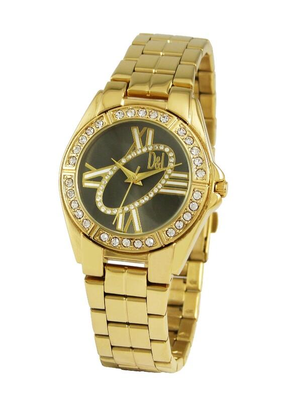 Reloj dorado mujer, esfera negra 8435432512920 Devota & Lomba