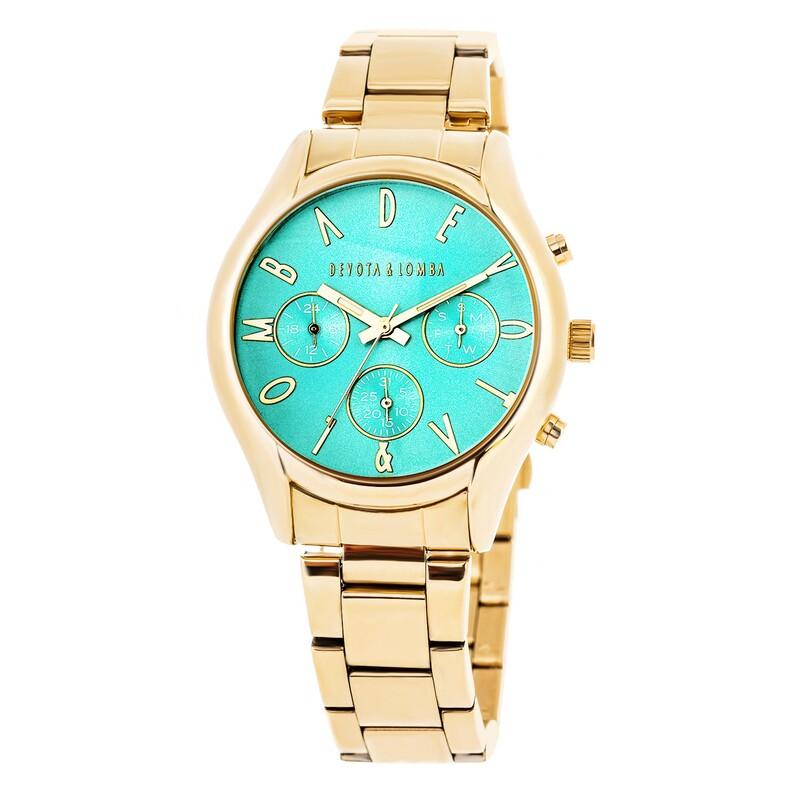 Reloj dorado mujer, esfera turquesa 8435432511671 Devota & Lomba