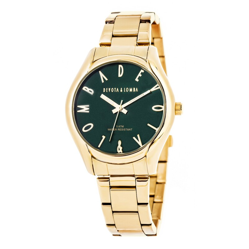 Reloj dorado mujer, esfera verde 8435432511626 Devota & Lomba