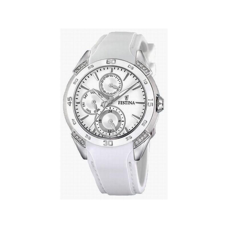 2eea88d43a7c Reloj Festina mujer multifuncion acero caucho blanco F16394 1