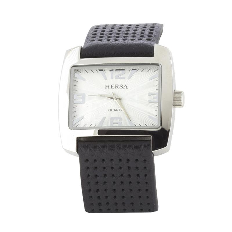 Reloj Hersa correa negra  HSC1002N