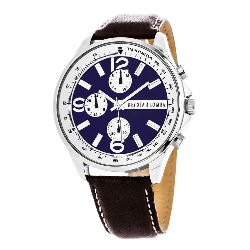Reloj piel hombre, esfera azul 8435432511879 Devota & Lomba