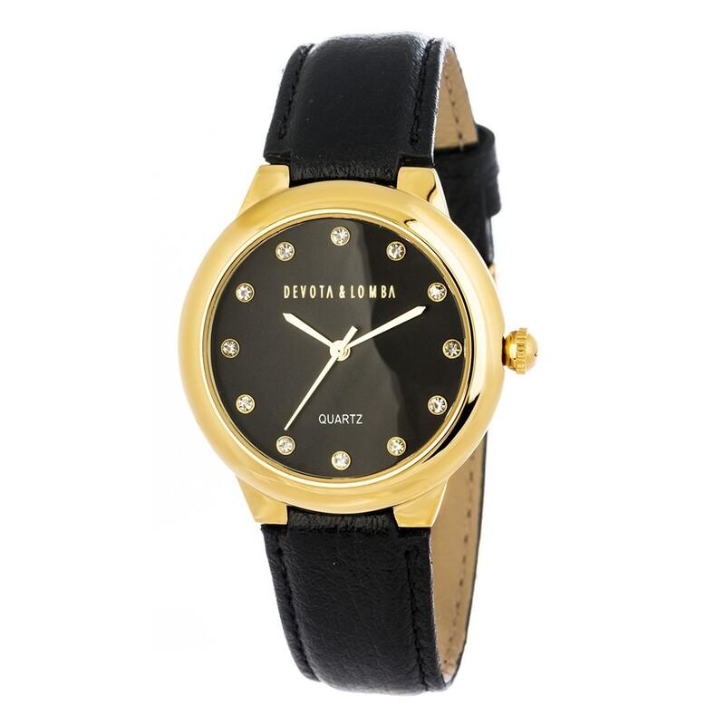 Reloj piel negra mujer 8435432512029 Devota & Lomba