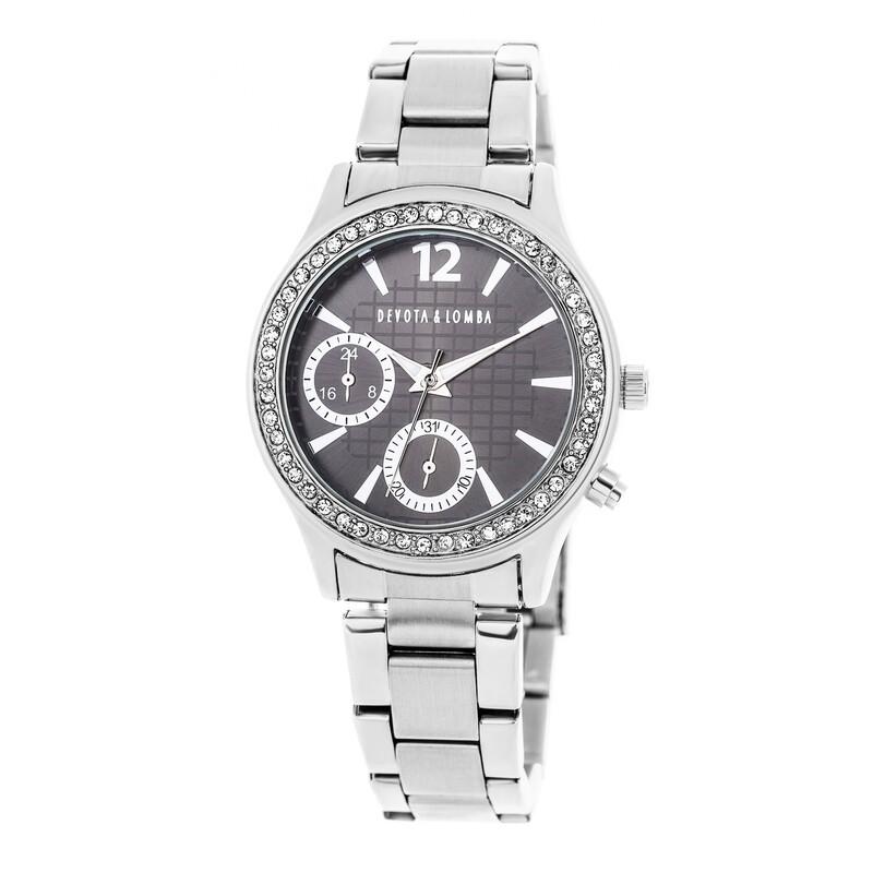 Reloj plateado mujer, esfera negra 8435432511558 Devota & Lomba