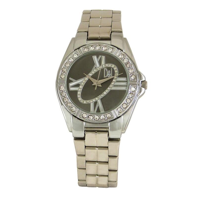 Reloj plateado mujer, esfera negra 8435432512906 Devota & Lomba
