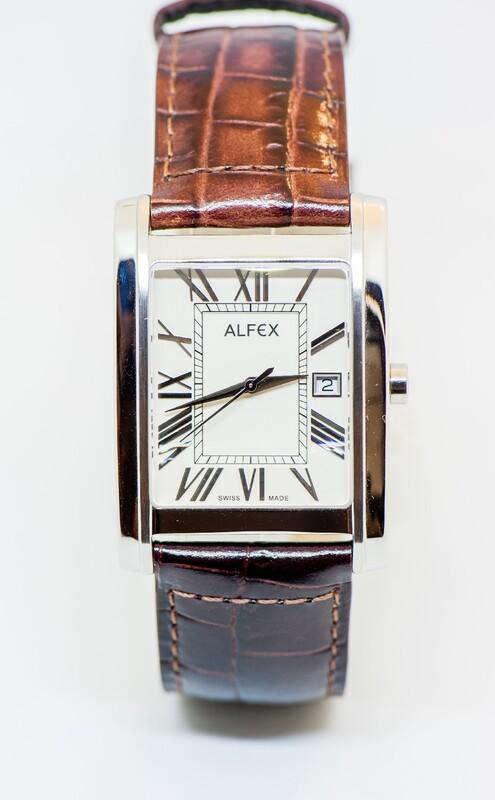 Reloj pulsera Alfex acero correa de cuero 5667/768