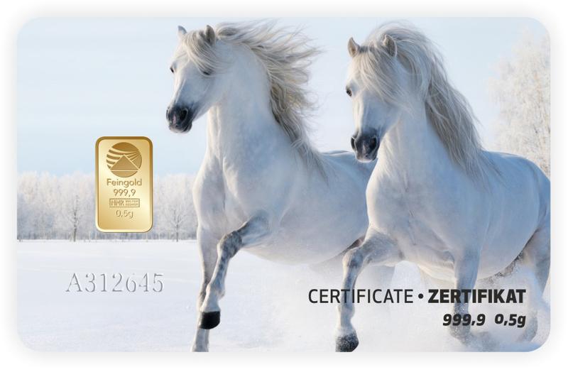 Tarjeta ORO regalo Pferde-weiss PIM
