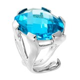 TRINKET RING SILVER OPEN CUT BLUE GLASS 8435334801603 DEVOTA AND LOMBA Devota & Lomba