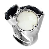 TRINKET RING ONE SIZE FITS ALL WITH ONYX AND WHITE QUARTZ 8435334801733 DEVOTA AND LOMBA Devota & Lomba