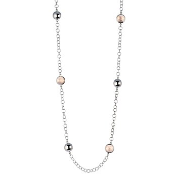 BEAD CHAIN NECKLACE WITH SILVER BALLS AND CRYSTALS COLOR 8435334801818 DEVOTA AND LOMBA Devota & Lomba