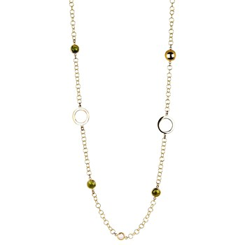 BEAD CHAIN NECKLACE WITH GOLDEN RINGS AND CRYSTALS GREEN 8435334801795 DEVOTA AND LOMBA Devota & Lomba