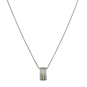 TRINKET PENDANT NECKLACE CIRCONCISO WHITE AND GREEN 8435334802761 DEVOTA AND LOMBA Devota & Lomba