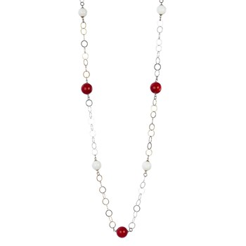 TRINKET PENDANT NECKLACE WITH SILVER DETAILS WHITE BALLS AND RED 8435334802174 DEVOTA AND LOMBA Devota & Lomba
