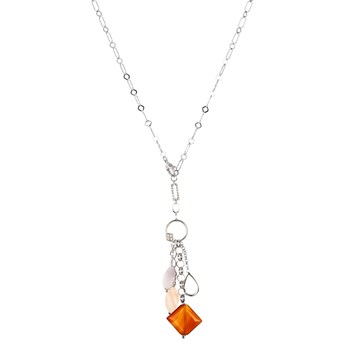 TRINKET PENDANT NECKLACE WITH SILVER DETAIL, DIAMOND CRYSTAL AMBER AND QUARTZ IN TEARDROP 8435334802181 DEVOTA AND LOMBA Devota & Lomba