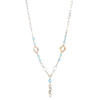 TRINKET NECKLACE GOLD TONE WITH BLUE CRYSTALS HANGING 8435334801283 DEVOTA AND LOMBA Devota & Lomba