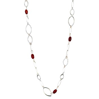 BEAD NECKLACE GOLD-TONE WITH RED CRYSTALS 8435334801290 DEVOTA AND LOMBA Devota & Lomba